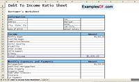 Debt to Income Ratio Sheet Example