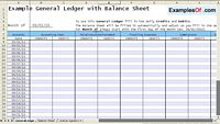 General Ledger and Balance Sheet Example