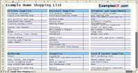 Home Shopping List Example