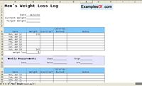 Weight Loss Log for Men Example