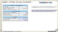 College Savings Worksheet Example