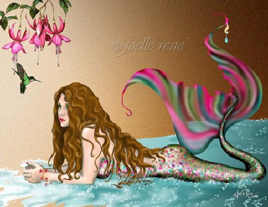 fish and bird mermaid illustration art example