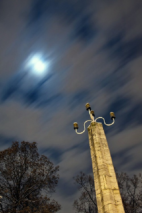 granite column lit by the moon long exposure example