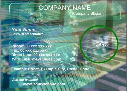 Word template for Electronics Business Card Examples
