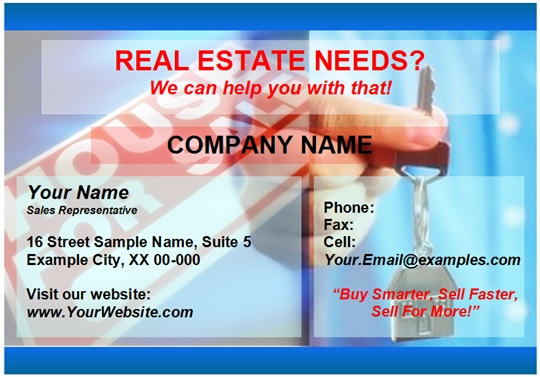 Word template for real estate business card examples example of a real estate business card including word template colourmoves