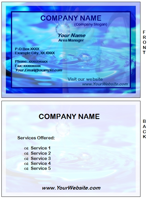 Word template for water business card examples for Example of a business card