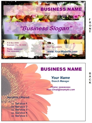 flowers business card example