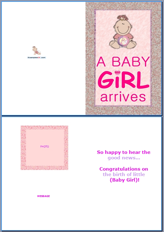 Example Baby Birth Card:A Baby Girl Arrives