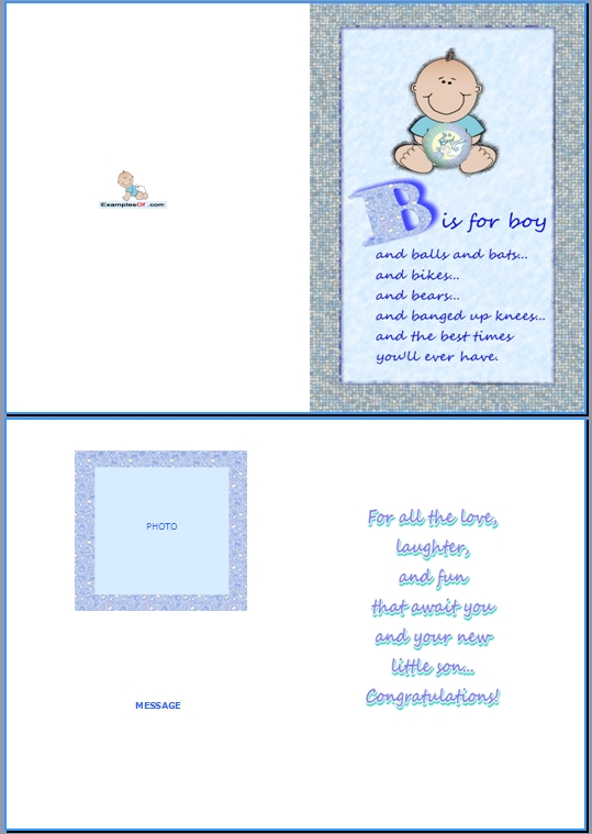 Example Baby Birth Card:B Is For Boy
