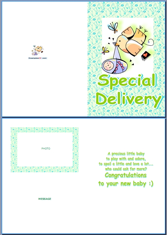 Example Baby Birth Card:Special Delivery