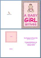 Baby Birth Card:A Baby Girl Arrives Example