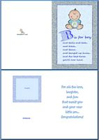 Baby Birth Card:B Is For Boy Example
