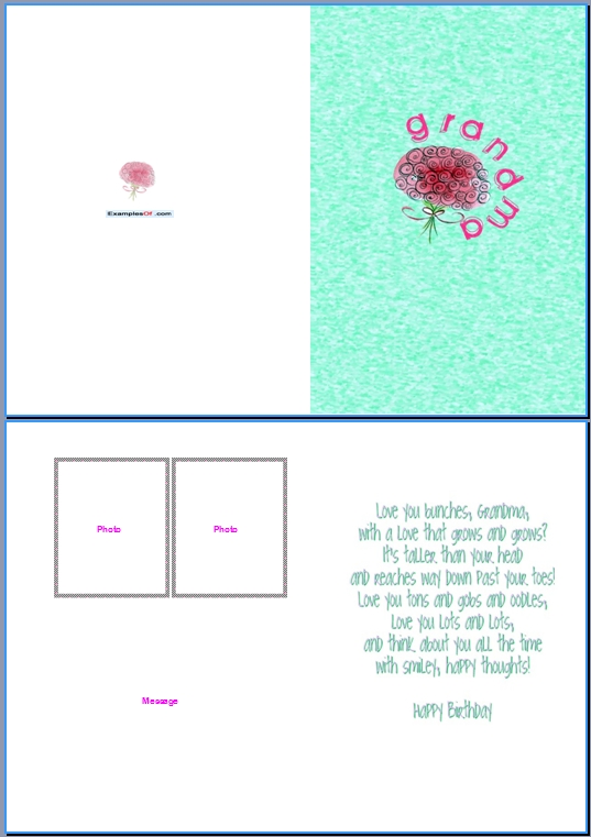 Example of Birthday Card for GrandmaBunches For Grandma – Word Birthday Card Template