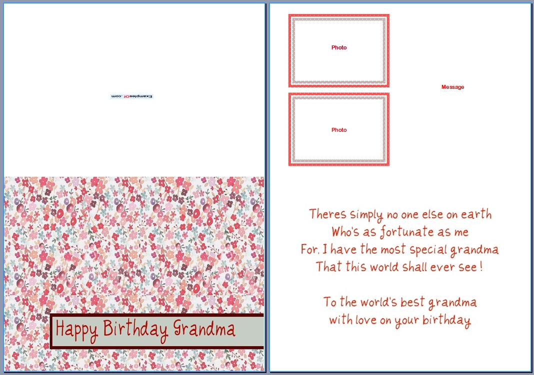 Example Birthday Card for Grandma:World's Best Grandma