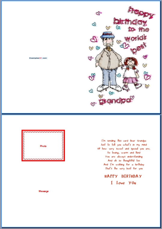 Example Birthday Card for Grandpa:World's Best Grandpa