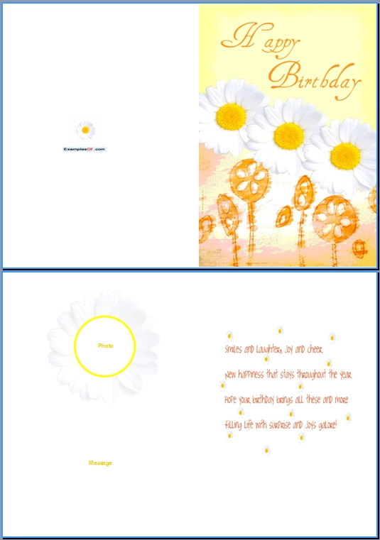 Example Birthday Card For Her:Daisies  Birthday Cards Format