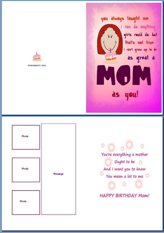 Example Birthday Card For HerGreat Mom