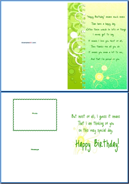 birthday word template, Greeting card