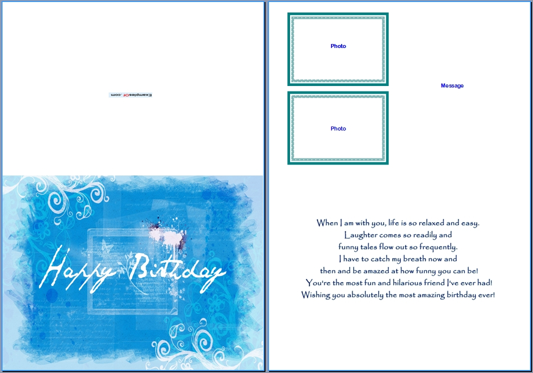 Example Birthday Card for Him:Summer Blue Birthday