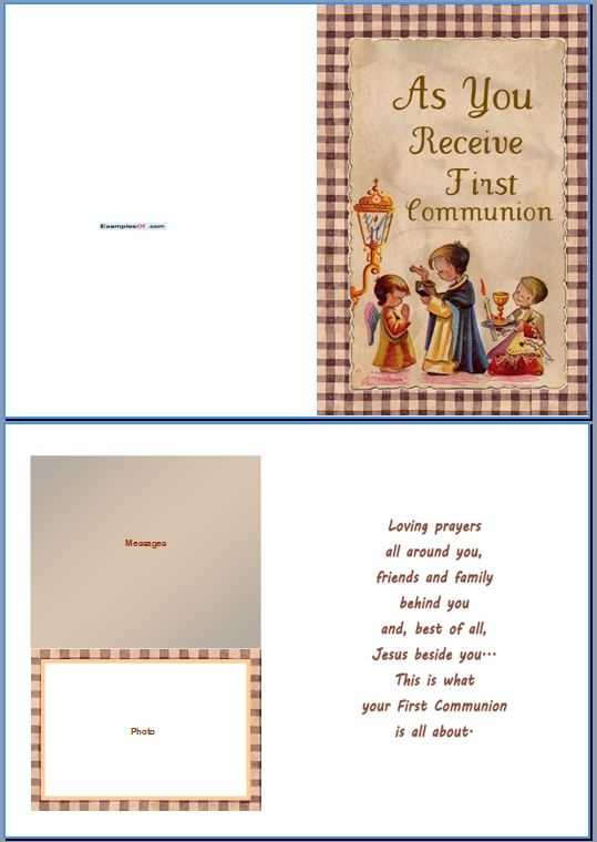 Example Communion Card:As You Receive First Communion