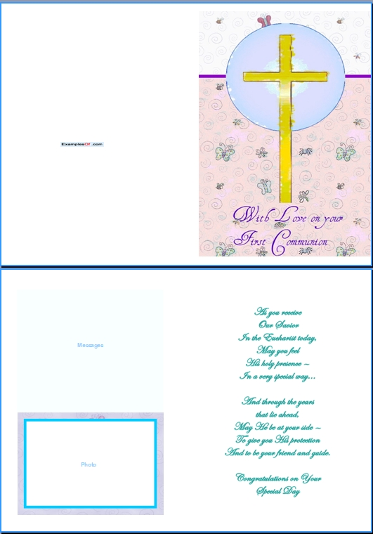 Example Communion Card:With Love On Your First Communion
