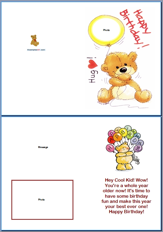 Example of Kids Card:Bear Birthday