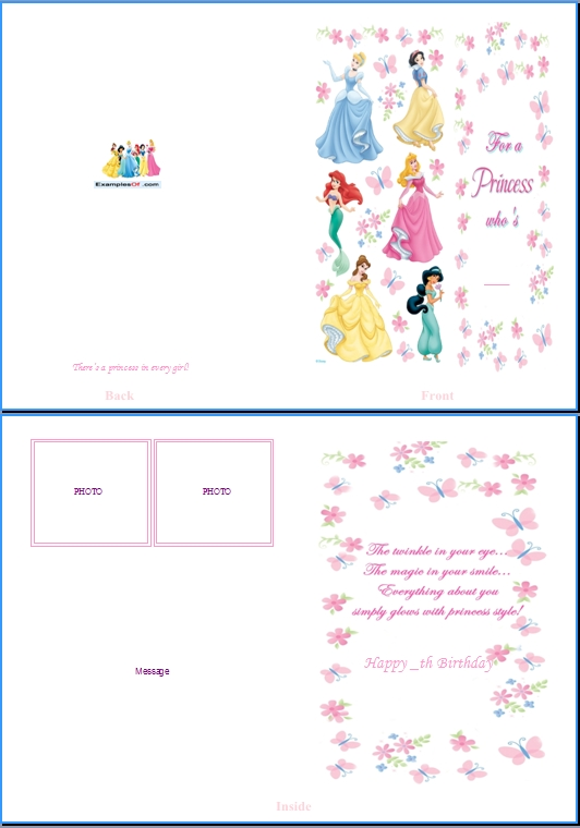 Example of Kids Card:Disney Princess