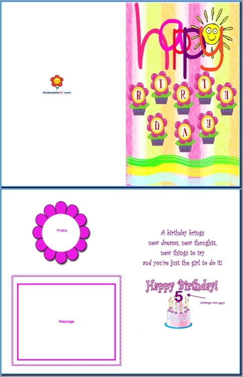 Example of Kids Card:Flowery Birthday