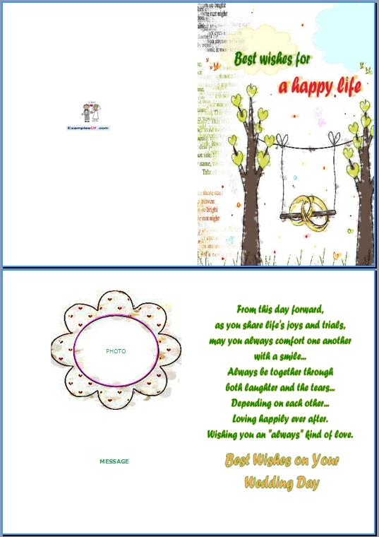 Example Wedding Card:Best Wishes For a Happy Life