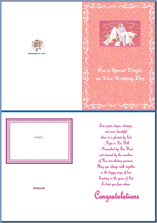 Example Wedding Card:For a Special Couple on Your Wedding Day