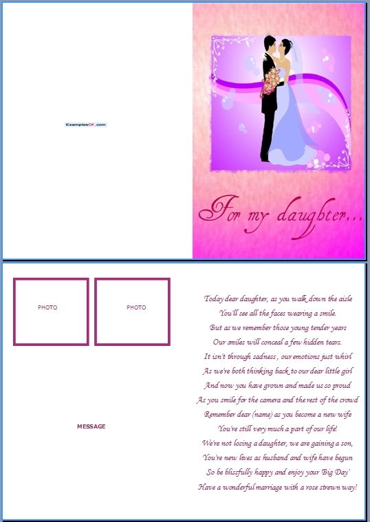 Example Wedding Card:For My daughter