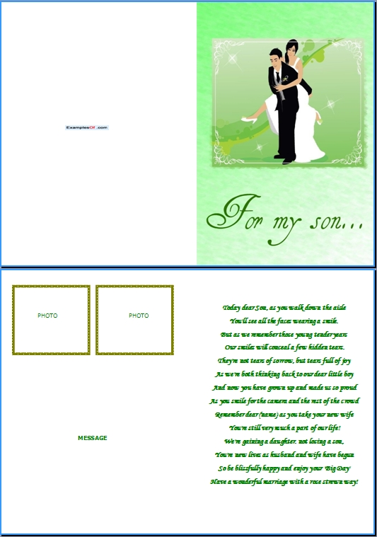 Example Wedding Card:For My Son