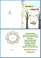 Wedding Card:Best Wishes For a Happy Life Example