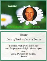 memorial card flower example