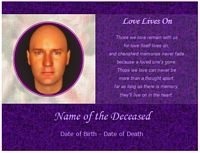 memorial card love lives on example