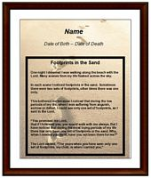footprints funeral card example