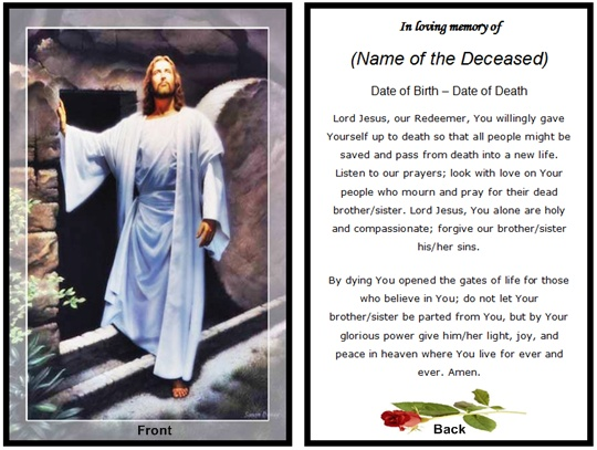 Example Christian Memorial Card: Jesus Resurrection