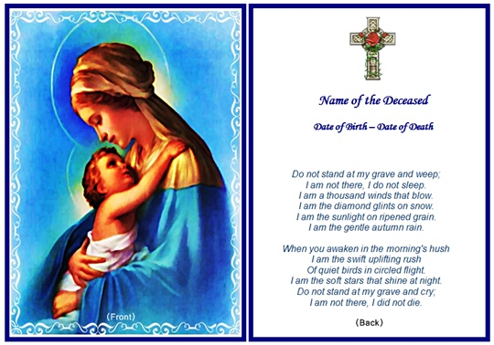 Example Christian Memorial Card: Virgin Mary