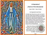 Christian Memorial Card:Mother Mary Example