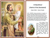 Christian Memorial Card:St. Joseph Example