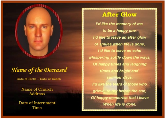 Example of funeral christian memorial card cross for Funeral memory cards free templates