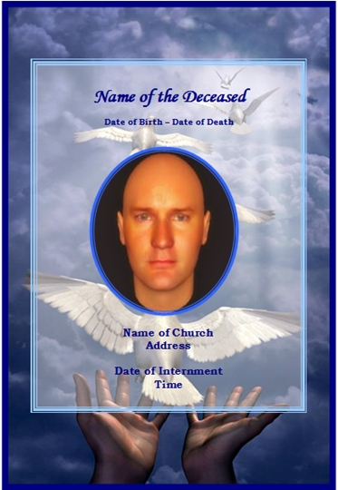 Example Funeral Christian Memorial Card:Dove
