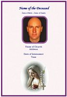 Funeral Christian Memorial Card:Lady of Holy Rosary Example