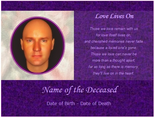 example memorial card love lives on