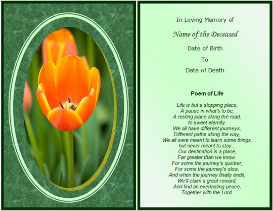 example memorial card poem of life