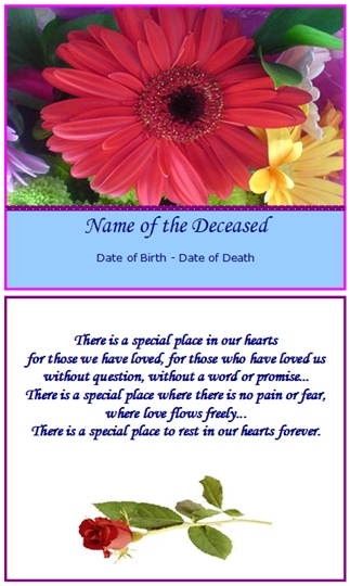 example memorial card special place in our hearts