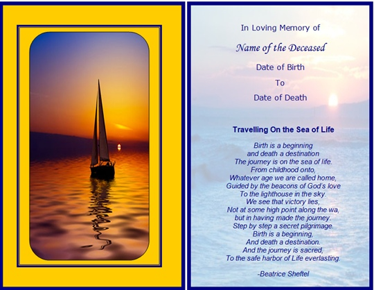 example memorial card travelling on the sea of life