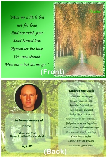 Example Memorial Card. Download Word Template ...  Memorial Card Template Word