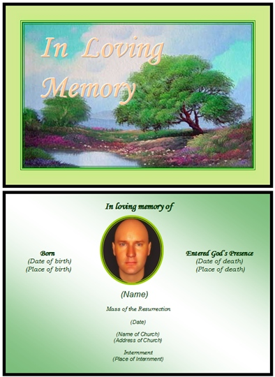 Example Funeral Landscape Card:Lake