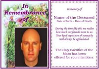 Example rememberance Funeral Card:Orchid